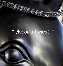 Ascot's Finest Zwart rundleer met blauwe/zwarte Swarovski strass - 42,5 cm