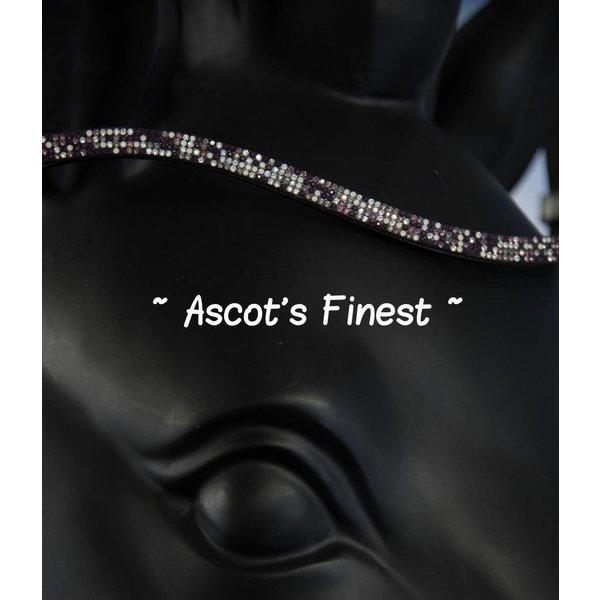 Zwart rundleer met wit/paars/zwarte strass - 42 cm
