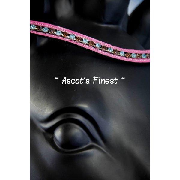 Zwart rundleer met roze lak en blauwe en bruine strass - 39,5 cm