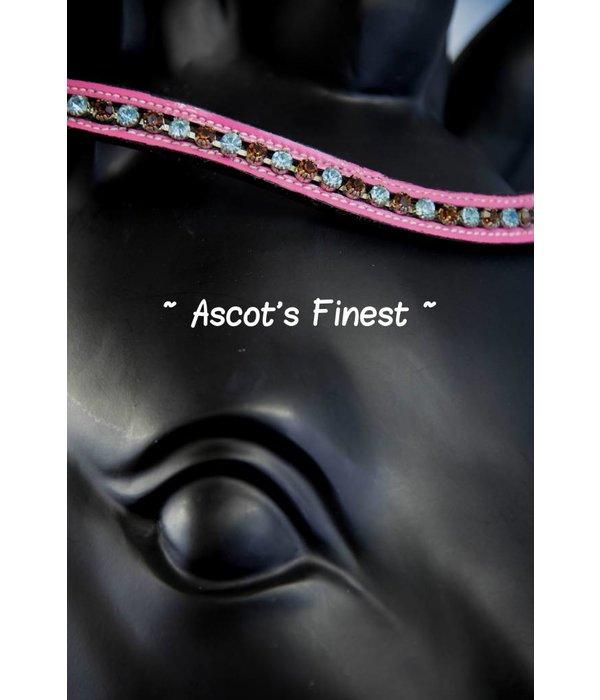 Ascot's Finest Zwart rundleer met roze lak en blauwe en bruine strass - 39,5 cm - Cob