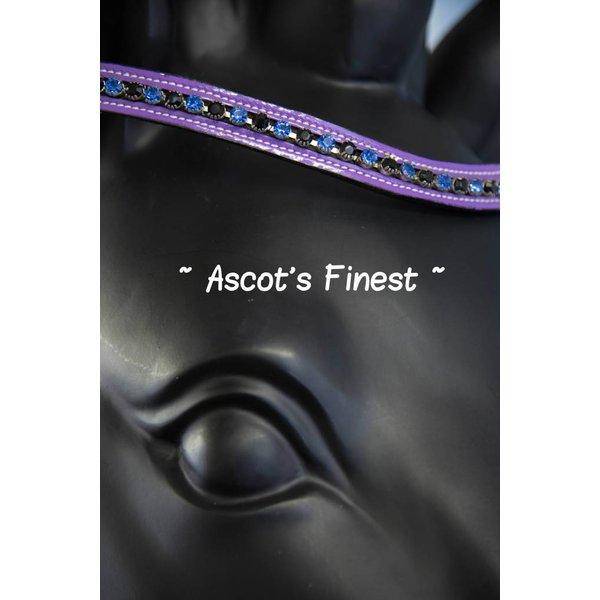 Zwart rundleer met paarse lak en strass - 40 cm