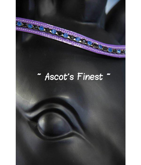 Ascot's Finest Zwart rundleer met paarse lak en strass - 40 cm - Full