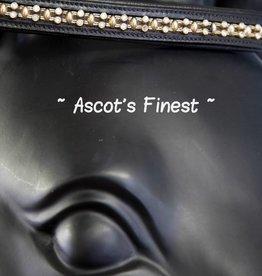 Ascot's Finest Zwart rundleer met zilveren strass en goudkleurige studs - 40 cm