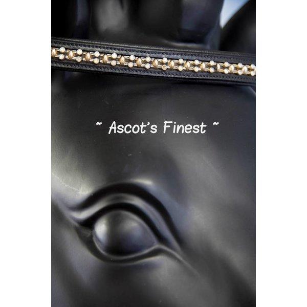 Zwart rundleer met zilveren strass en goudkleurige studs - 40 cm