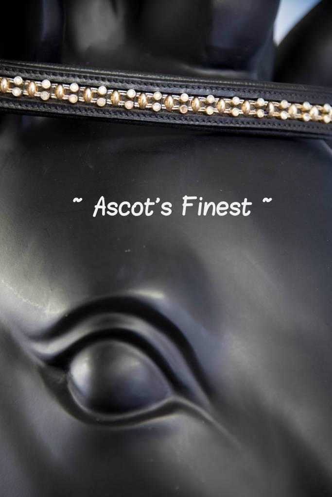 Ascot's Finest Zwart rundleer met zilveren strass en goudkleurige studs - 40 cm  - Full