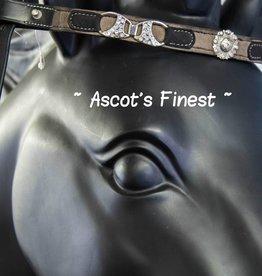 Ascot's Finest Zwart rundleer met stof en sjieke versieringen - 40 cm