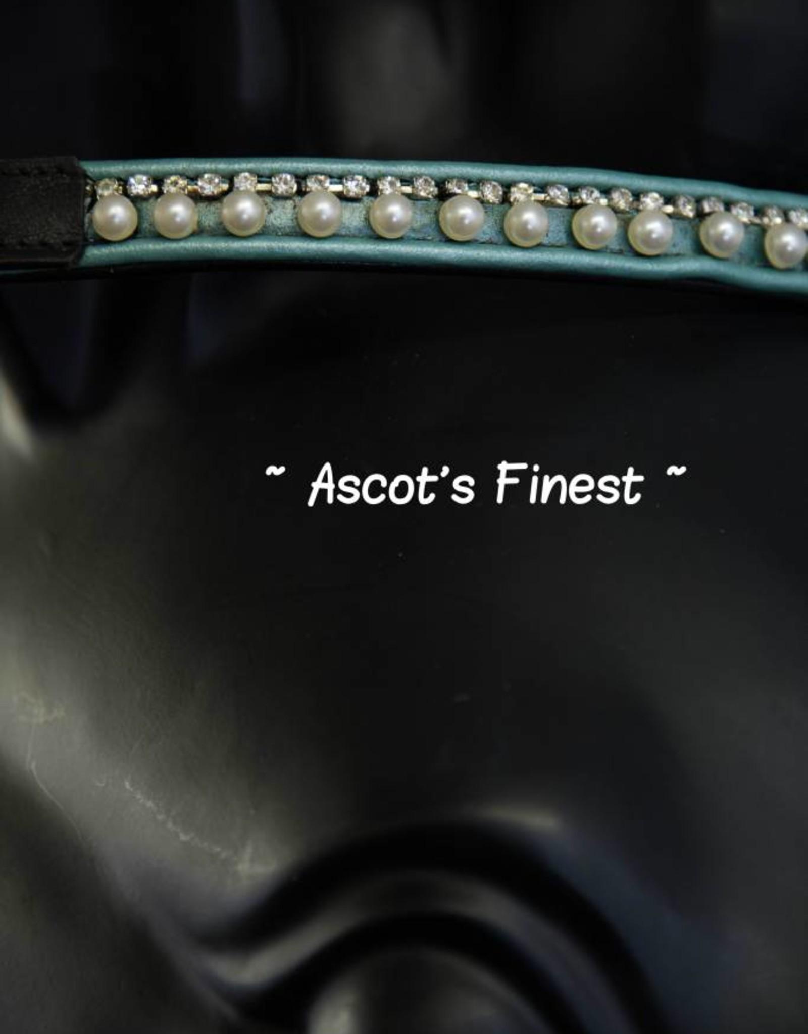 Ascot's Finest Zwart rundleer met mintgroen, parels en strass - 38 cm - Cob