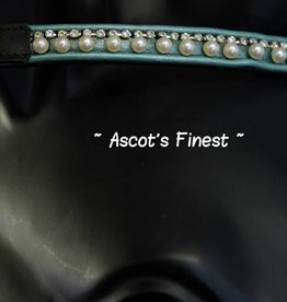 Ascot's Finest Zwart rundleer met mintgroen, parels en strass - 38 cm