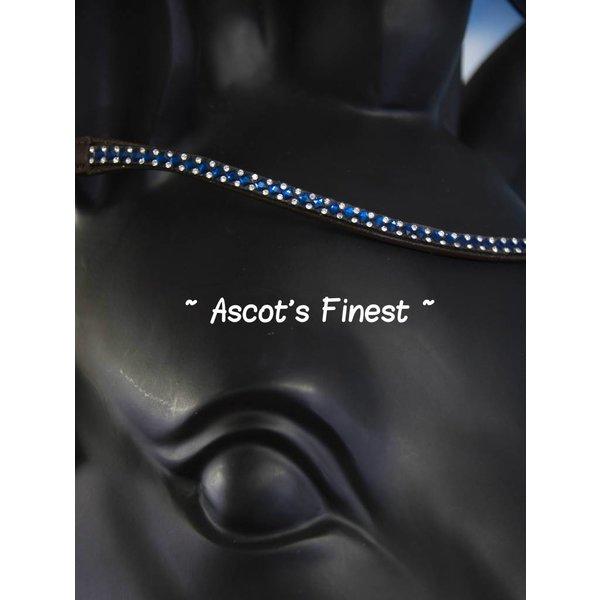 Bruin rundleer met blauwe en zilverkleurige strass - 42 cm