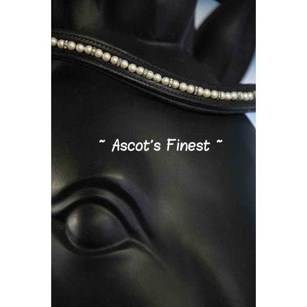 Zwart rundleer met parels en strass - 41 cm