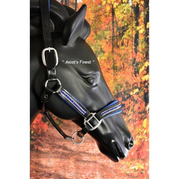 Zwart rundlederen halster met Royal Blue strass en padding