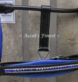 Ascot's Finest Zwart rundlederen halster met Royal Blue strass en padding