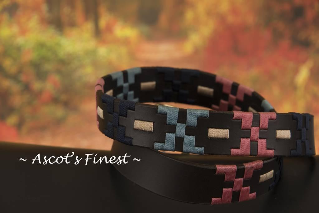 Ascot's Finest Polo riem met roze en blauw stiksel – 90 t/m 100 cm