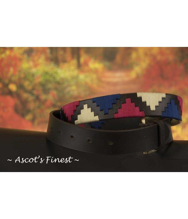 Ascot's Finest Polo riem met roze, blauw en wit stiksel – 90 t/m 100 cm