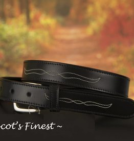 Ascot's Finest Zwart rundlederen riem met wit stiksel – 77 t/m 87 cm