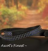 Ascot's Finest Zwart rundlederen riem met blauwe strass steentjes – 90 t/m 100 cm