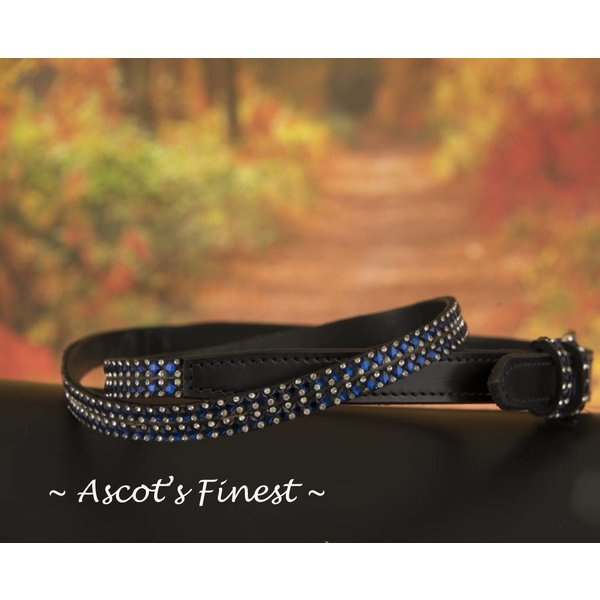 Zwart rundlederen riem met blauwe strass steentjes – 90 t/m 100 cm