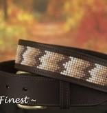 Ascot's Finest Bruin rundlederen riem met kleurige mozaiek – 97 t/m 97 cm