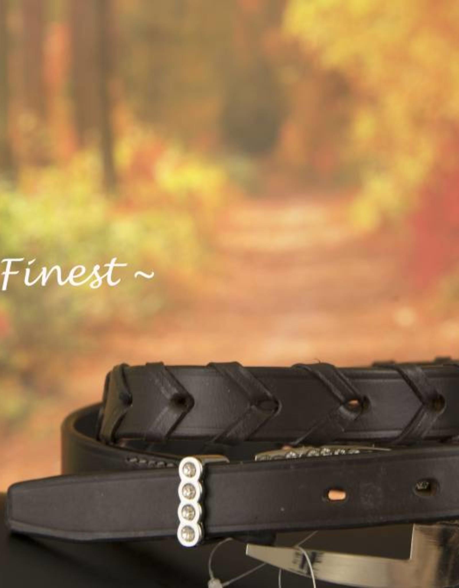 Ascot's Finest Bruin rundlederen riem met lederen vlecht – 87 t/m 97 cm