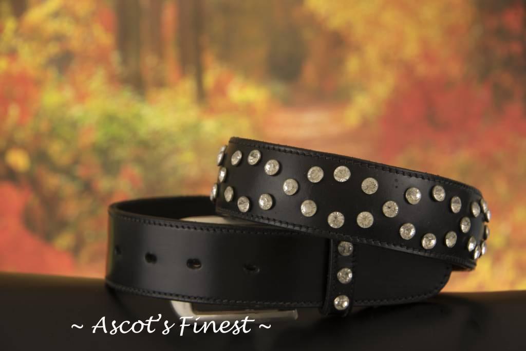 Ascot's Finest Zwart rundlederen riem met sierlijke strass – 75 t/m 85 cm