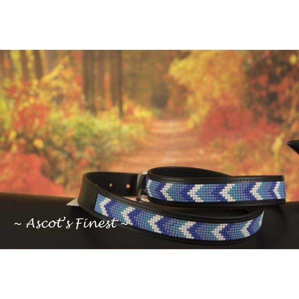 Zwart rundleder met blauw-tinten mozaiek – 88 t/m 98 cm