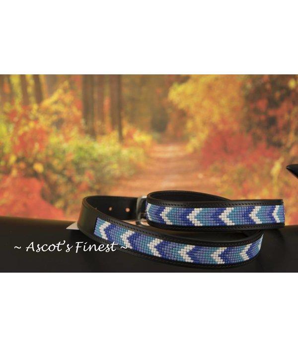 Ascot's Finest Zwart rundleder met blauw-tinten mozaiek – 88 t/m 98 cm
