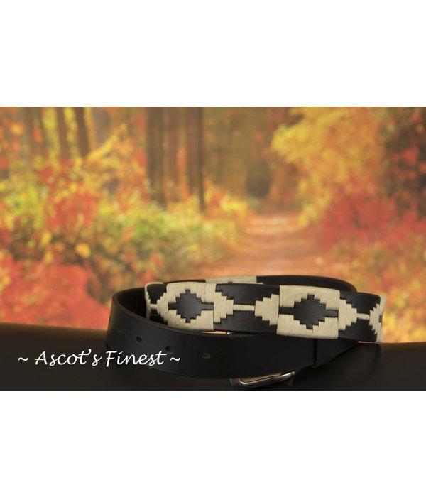 Ascot's Finest Polo riem met crème kleurig stiksel – 90 t/m 100 cm