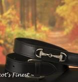 Ascot's Finest Zwart rundlederen riem met zilverkleurige bitjes – 87 t/m 97 cm