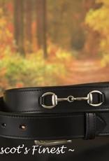 Ascot's Finest Zwart rundlederen riem met strass bitjes – 87 t/m 97 cm