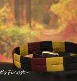 Ascot's Finest Polo riem met geel, zwart en rood stiksel – 93 t/m 103 cm