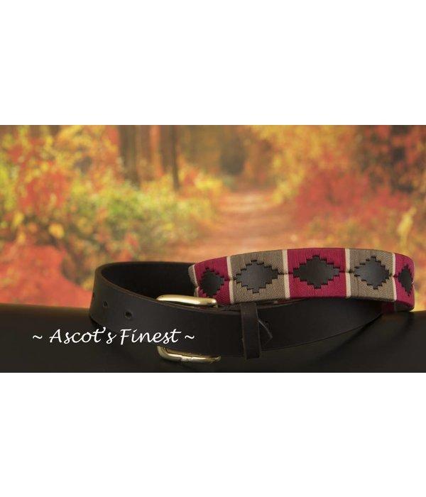 Ascot's Finest Polo riem met sjieke uitstraling in rood en beige – 95 t/m 105 cm