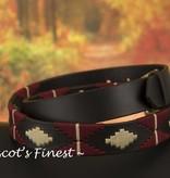 Ascot's Finest Polo riem met crème en rood stiksel – 92 t/m 102 cm