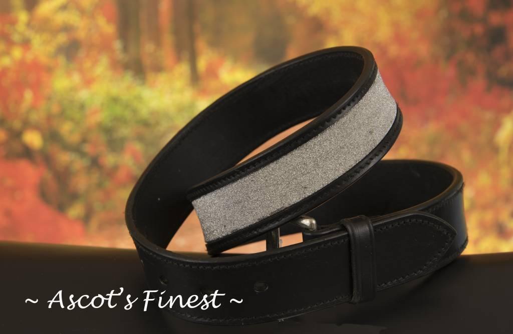Ascot's Finest Zwart rundlederen riem met zilverkleurig glitter – 76 t/m 86 cm