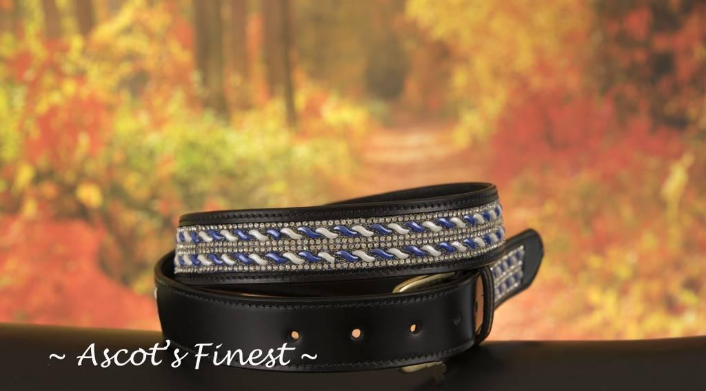Ascot's Finest Zwart rundlederen riem met blauwe en witte strass – 77 t/m 87 cm