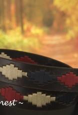 Ascot's Finest Polo riem met blauw, rood en crème kleurig stiksel – 90 t/m 100 cm