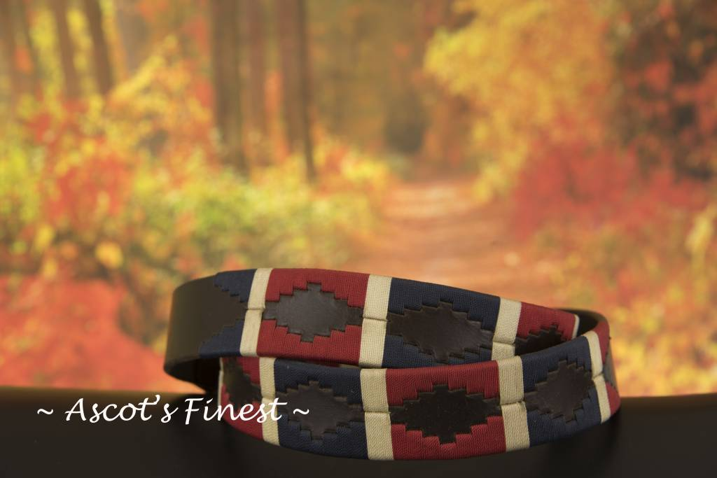 Ascot's Finest Polo riem blauw, rood en crème kleurig stiksel – 95 t/m 105 cm