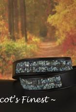 Ascot's Finest Zwart rundlederen riem met waanzinnige turquoise steentjes – 75 t/m 85 cm