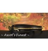 Ascot's Finest Zwart rundlederen riem met goudkleurige versiering – 87 t/m 97 cm