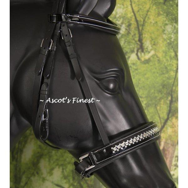 Zwart hoofdstel met glitter en lak neusriem - kleine Full