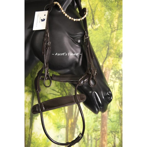 Cognac brown bridle with latest noseband - Cob