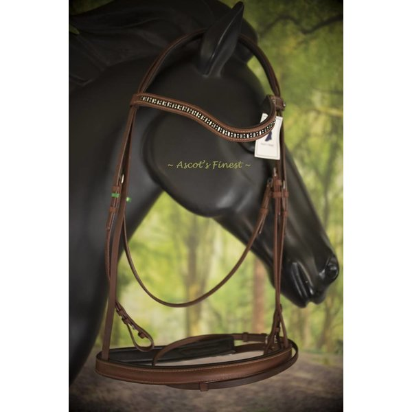 Brown English leather draught horse bridle