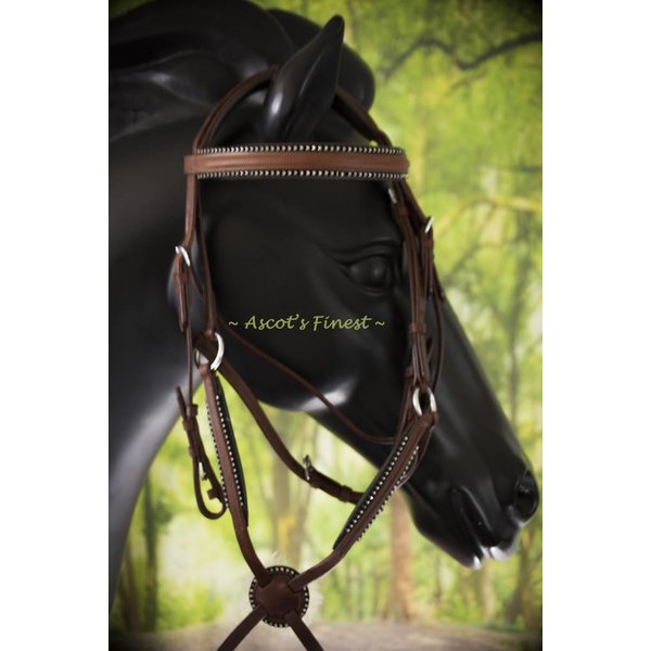 Jumping bridle - Cognac brown with rhinestones - Pony