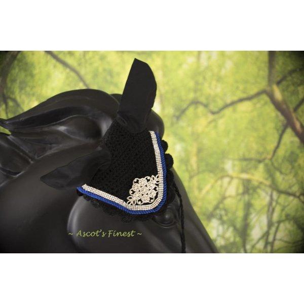 Zwart met blauw strass oornet - XFull, Full, Cob en Pony