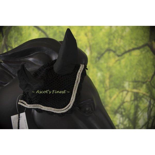 Oornetje met strass en grijsgekleurd koord - Full, Cob en Pony