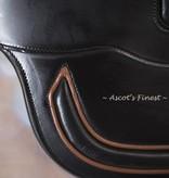 Ascot's Finest Zwarte rundlederen singel met bruin - 70 cm