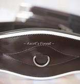 Ascot's Finest Bruine rundlederen singel met witte rand - 125 cm