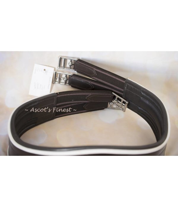 Ascot's Finest Brown English leather girth with white part - 125 cm
