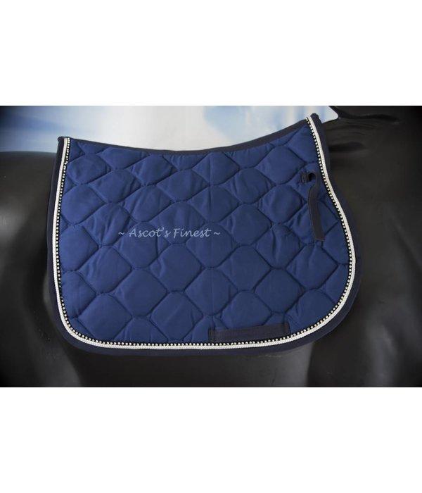 Ascot's Finest Royal Blue dressage saddle pad with rhinestones - Full