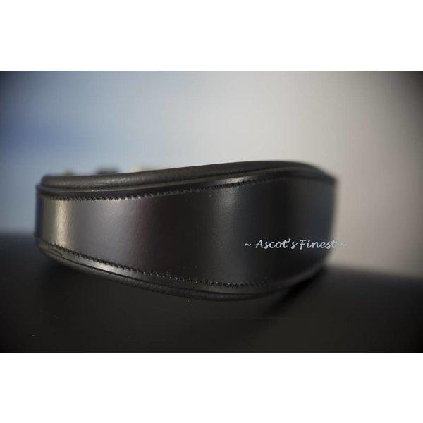 Brede, zwart rundlederen halsband - 50 cm