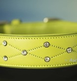 Ascot's Finest Neon green dog collar of soft English leather with rhinestones - 50 cm